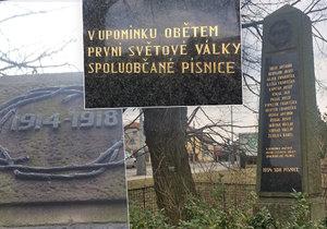 Památník na dřívější písnické návsi, dnes spíše náměstíčku, připomíná 14 padlých mužů, kteří se nevrátili z bojů 1. světové války.