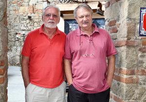 Natáčení filmu Léto s gentlemanem: Jaromír Hanzlík a Jiří Adamec