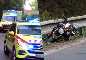 Motocyklista v ulici Horoměřická nezvládl řízení a naboural do svodidel. S poraněními jej musela odvézt sanitka.