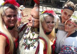 Monika Štiková se převlékla za kurtizánu a balila indiána ve westernovém městečku.
