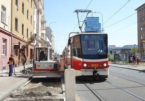 Rekonstrukce tramvajové zastávky Maniny potrvá do poloviny prosince.
