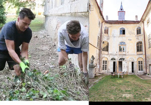 Matěj Stropnický se svým přítelem u zámku trhají břečťan.