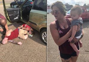 Pár zachránil holčičku z rozžhaveného auta.