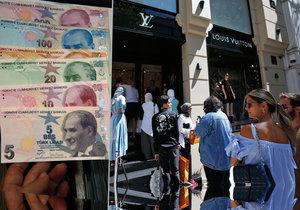 Pádu turecké liry využívají především turisté. V Istanbulu skupují luxusní zboží všeho druhu.