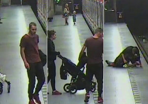 """VIDEO: """"Táta"""" s kočárkem v metru na Jiřáku napadl cestujícího! """"Co čumíš,"""" křičel na něj, dítě měl s sebou"""