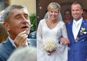 Andrej Babiš vyrazil na svatbu hejtmanky Vildumetzové (oba ANO), která si vzala politika z ODS Mračka