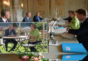 Putin a Merkelová na ostře střeženém zámku: Řeší návrat uprchlíků domů i sporný plynovod