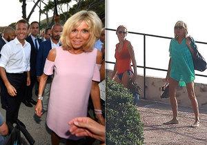 Manželka francouzského prezidenta Brigitte Macronová na dovolené.