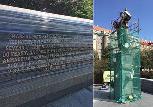Pomník maršála Koněva se dočkal opravy a tří nových informačních desek.