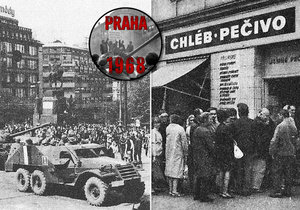21. srpna 1968: První den invaze se v Praze začaly tvořit fronty u obchodů s potravinami.