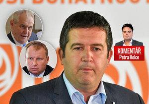 Vicepremiér a šéf ČSSD Jan Hamáček (uprostřed) bude dál dvojitým ministrem. A prezident Miloš Zeman Miroslava Pocheho ve vládě stále nechce