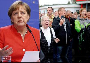 Německá kancléřka Angela Merkelová (CDU) kritizovala sobotní demonstrace pravice v Chemnitzu (Saské Kamenici). Řadě lidí podle ní nešlo o vyjádření smutku, ale pouze o šíření nenávisti (3.9.2018).