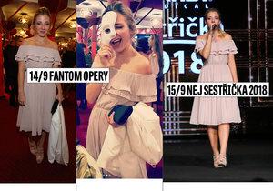 Anna Slováčková vynesla stejné šaty na Fantoma opery a druhý den na Nej sestřičku roku.