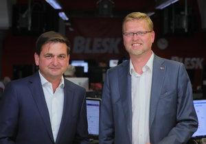 Martin Červíček (ODS, vlevo) a Pavel Bělobrádek v Duelu Blesku