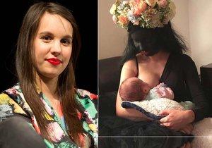 Míša Tomešová kojila svého měsíčního syna ve strašidelné masce černé víly.