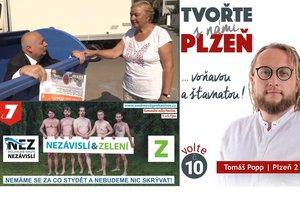 """Předvolební kampaň vrcholí: Primátor leze z popelnice, Zelení naháči i """"šťavnatá"""" Plzeň"""
