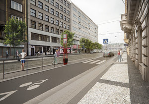 Jednotlivé části Revoluční ulice v porovnání před a po rekonstrukci