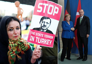 Stop Erdoganovi. Tureckého prezidenta v Německu vítali demonstranti i kancléřka Merkelová