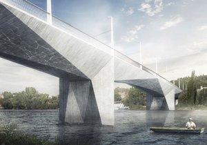Finální podoba Dvoreckého mostu, který má spojit Smíchov a Dvorce.