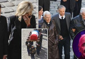 Pohřeb Charlese Aznavoura: Brigitte Macronová plakala, Belmonda museli podpírat.
