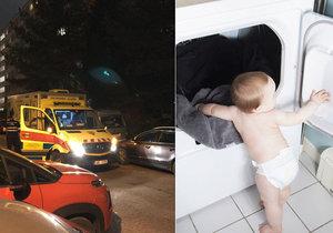 Ve Strašnicích vlezl chlapeček do sušičky na prádlo.