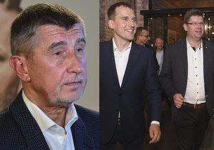 Andrej Babiš (ANO) se svým lídrem pro Prahu Petrem Stuchlíkem (vlevo) a Jan Čižinský (Praha sobě) i Jiří Pospíšil (TOP 09)