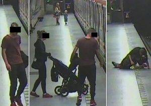 Muž v metru na Jiřího z Poděbrad napadl cestujícího. S sebou měl kočárek s dítětem.