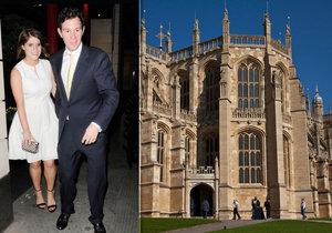 Princezna Eugenie si vezme svého přítele v kapli sv. Jiří na hradě Windsor.