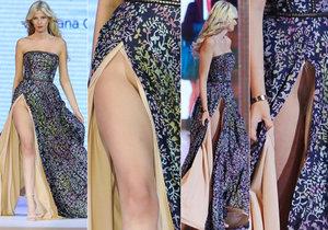 Modelka rozevlála šaty tak, že nebylo poznat, jestli má, nebo nemá kalhotky.
