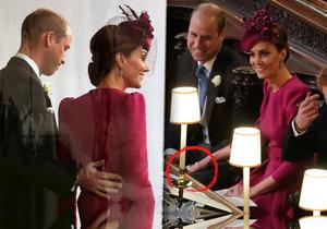 Kate na svatbě Eugenie porušila prokol, když osahávala prince Williama.