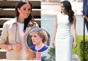 Meghan Markle předvedla neviditelné bříško v šatech a šperky po princezně Dianě.