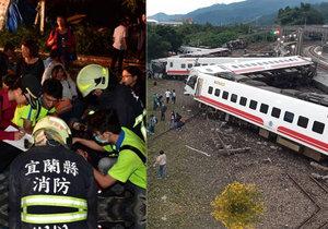 Nejméně 17 mrtvých si vyžádalo vykolejení vlaku na Tchaj-wanu.