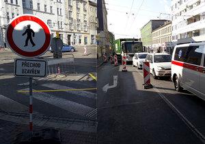 Zábrdovická ulice v Brně je pro veškerý provoz uzavřená. Oprava mostu potrvá více než rok.