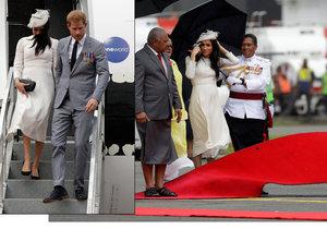 Meghan s Harrym po příletu na Fiji potrápil vítr a déšť.