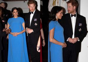 Těhotná Meghan se pochlubila rostoucím bříškem pod modrými šaty.