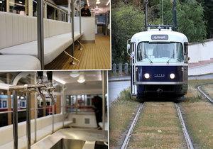 """Prahu bude na kolejích brázdit nová kráska: """"tramvaj v modrém"""" nabídne bar i polstrované sedačky."""
