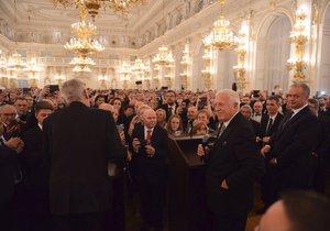 Sté narozeniny Československa oslavil v Praze také slovenský prezident Kiska. Vystoupil společně s Klausem i Zemanem