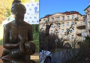 Vstupní prostor porodnice v Podolí zdobí nová socha. Je nazvaná výstižně: Mateřství.