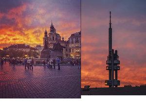 Nebe nad Prahou se zbarvilo do ruda.