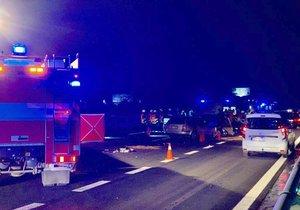 Smrt na D5: Za Prahou bourala tři auta, při nehodě zemřel řidič a pes