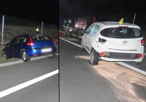 Senior (81) se otáčel na dálnici u Sokolova a spletl si pedály: Skončil v příkopě a způsobil hromadnou nehodu