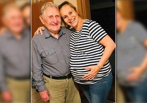 Monika Absolonová vyvalila těhotenské břicho na svého dědu.