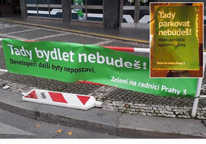"""""""Tady parkovat nebudeš!"""" Plakáty """"zelených"""" zaplavily Žižkov, ze strany si utahují. Kdo za nimi stojí?"""