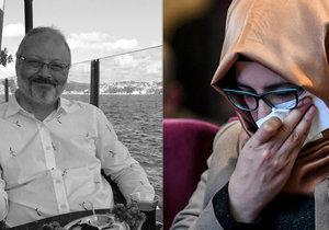 Hatice Cengizová, snoubenka zavražděného novináře Džamála Chášukdžího, během vzpomínkové akci jen stěží přemáhala slzy.