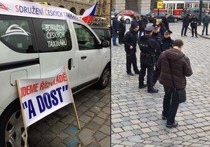 Pěší protest taxikářů v centru Prahy, 13. 11. 2018