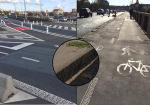 """""""Past"""" na cyklisty u Hlávkova mostu: Na stezce číhá vysoká bariéra!"""
