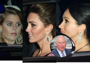 Snachy prince Charlese Kate a Meghan a jeho neteř Beatrice se ověsily šperky s diamanty.
