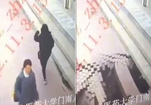 Horor v Číně! Pod ženou se propadla zem