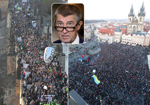 Protesty proti Andreji Babišovi 17. listopadu 2018 v Praze