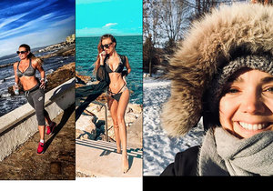Zatímco Lucie Vondráčková přivítala zimu v Kanadě, Borhyová s Makarenko naopak v plavkách.